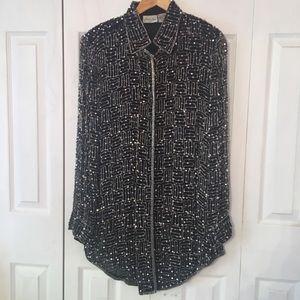 {JUDITH ANN} Sequin Glass Bead Silk Shirt Large